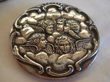 ANTIQUE ENGLISH  SILVERPLATED  ROUND LIDDED BOX WITH CHERUBS