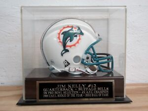 Jim Kelly Football Mini Helmet Case With A Buffalo Bills Nameplate