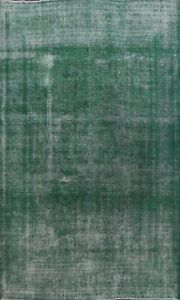 Vintage Overdyed Green Traditional Distressed Rug Evenly Low Pile Handmade 10x13
