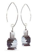925 Silber Ohrringe mit Hämatin (Hämatit rekonstruiert)  & 925er Silber,Ohrhaken