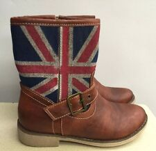 NEW ~ WOMENS BROWN ANKLE BOOTS ~ SZ. 6~ BRITISH UK FLAG DESIGN UNION JACK DESIGN