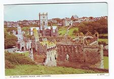 Old Postcard - St. Davids - Bishop Palace and Cathedral - Posted 0532