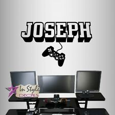 Vinyl Decal 3D Customized Name Gamer Video Games Controller Kids Wall Decor 2443