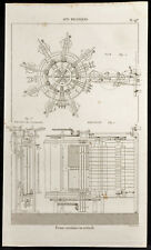 1852 - Gravure arts mécaniques Presse circulaire ou verticale. Science, Imprimer