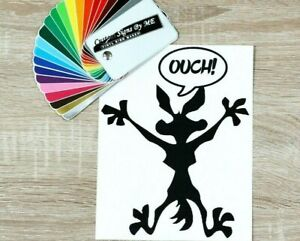 OUCH! Wile e coyote Funny Dent Repair Car Sticker Vinyl Decal Adhesive BLACK