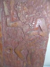 MAYA-LG WOOD CARVING-ESTATE VINTAGE-IMPRESSIVE-RUSTIC-AZTEC DANCE- WALL PLAQUE