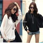 Fashion Womens Long Sleeve Batwing Top Dolman Lace Loose T-Shirt Blouse Tops