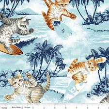Katzen Surfen Baumwollstoff Patchwork Patchworkstoff Kinderstoff Tiermotive Cats