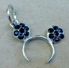 1PC Disney Mickey Mouse Black Crystal Ears Headband European Dangle Bead Charm