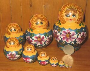 SLIGHT SECONDS Matryoshka Russian nesting Brown Copper dolls 10 SIMAKOVA signed