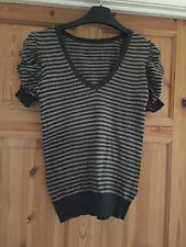 TOPSHOP Ladies Pretty Grey/Beige Striped Ruched Detail Short Sleeved Top Size 8