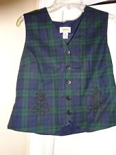TALBOTS Ladies Small Petite !00% Pure Wool / Acetate Lined 5 Button Front Vest