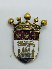 Medal Crown Shield Crest Design Pin Coro Vintage Yellow Gold Plated Enamel