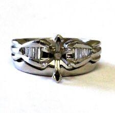 Platinum womens semi mount diamond .22ct engagement ring wedding band 10.9g