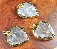 Heart Necklace Quartz Pendant Gold Charm Y9 Healing Crystals And Stones