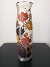 Grand vase en verre moulé dépoli émaillé à décor floral signé Jepi Art Déco