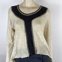 Sass & Bide Women's Boho Rhinestone Beads Cotton Cream Brown Top Size XS A16