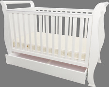 Baby Master Premium Wooden Baby 3 in 1 Sleigh Cot Crib Toddler Bed with Drawer
