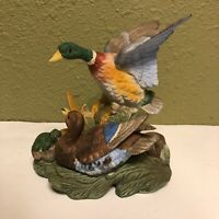Vintage ROYAL CROWN Ceramic Ducks & Frog Figurine Statue J. Byron Signed