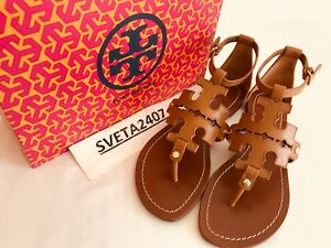 Tory Burch NIB Phoebe Flat Thong Sandals Royal Tan Tumbled Leather LAST PAIR!!!