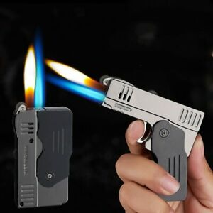 2021 Metal Double Fire Deformation Pistol Butane Gas Lighter Free Fire Jet Torch