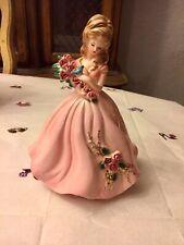 Vintage Summer Josef Originals Figurine Four Season Series Pink Gown Blue Bird
