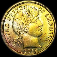 1916 Barber Dime Silver ----  GEM BU ---- #D489