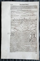 1628 Munster Antique Print View of Lutherstadt Wittenberg Saxony-Anhalt, Germany