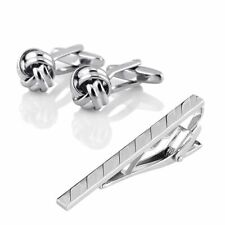 Mens Metal Silver Tone Simple Necktie Tie Bar Clasp Clip + Silver Knot Cufflinks