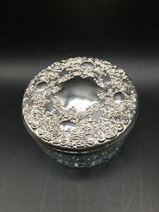 "Vintage Cut Glass Mirrored Powder Jar/Trinket Dish Silverplate Lid 4"" round"