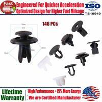 146Pc Car Plastic Rivet Bumper Fender Retainer Fastener Mud Flaps Push Clips Pin
