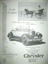 PUBLICITE DE PRESSE CHRYSLER IMPERIAL 23 CV AUTOMOBILE  FRENCH AD 1926