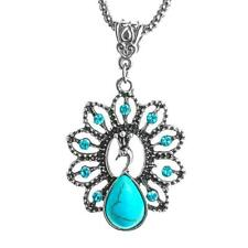 UK BOHO PEACOCK CRYSTAL PENDANT NECKLACE Tibetan Silver Turquoise Jewellery
