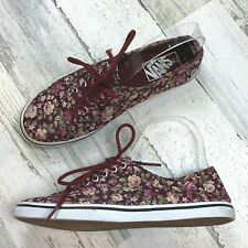 Vans Burgundy Floral Men's 5 Women's 6.5 Low Top Shoes