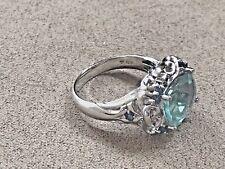 HSN Victoria Wieck RARE 4.92ct Prasiolite, London Blue Topaz 925 Ring size 10