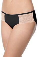 BALI U Comfort Indulgence Satin Lace Black/Nude Bikini Size 7/Large
