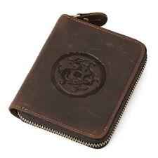 Men Genuine Leather Wallet Designer Zipper Vintage Business Card Holder Purse