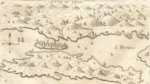 1713 Copperplate Trau Trogir Croatia Lasor a Varea Adriatic Dalmatia