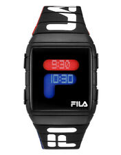 Fila Light Up Watch Mens Ladies Unisex Black White Digital Silicone Strap Sports