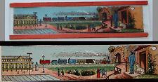Ancienne plaque verre magic lanterne magique photo fin XIX° train quitte la gare