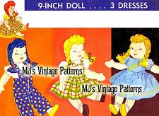 "Vintage Small 9"" Girl Stuffed Doll and Clothes Pattern"