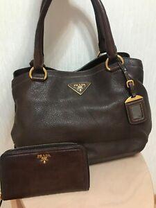 Authentic Prada Vitello Daino brown leather tote chain shoulder bag and purse