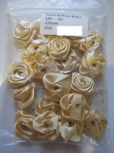 LARGE Satin Ribbon Rose - 25mm.  Packet of 20!  GOLD  **NEW** Free P&P