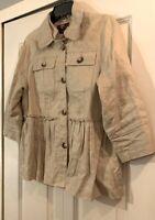Luii by Anthropologie Tan Ruffle Bottom Jacket Coat