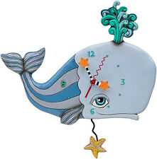 Spouting Off Whale Pendulum Wall Clock 13.5 x 13 inches
