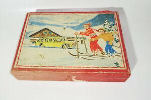 Altes Holz Würfelpuzzle Spielzeug Vintage Auto Flugzeug Schlepper !