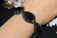Edeles Luxus Strass Armband, Brautschmuck Bracelet Zirkonia Schwarz Gothic