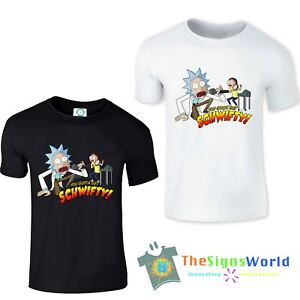 Rick and Morty Mens T-shirt. Funny. You Gotta Get Schwifty. White 100% Cotton