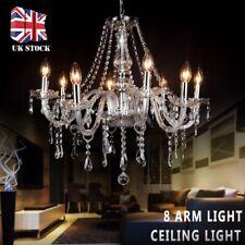 Retro Clear Crystal 8 Arm Light Chandelier Ceiling Light Droplets Pendant Lamp
