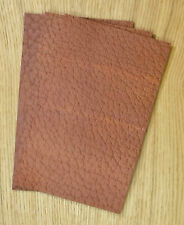 LEATHER COWHIDE PIECES 3 @ 25CM X 15CM TAN 2.4 mm THICK EMBOSSED